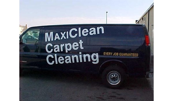 Graphic advertisement created for the MaxiClean Carpet Cleaning van